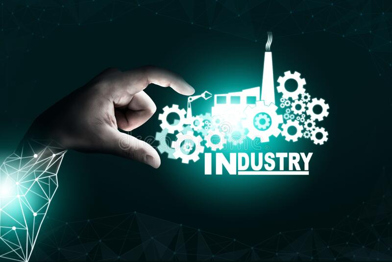 Futuristic industry 4.0 engineering concept. Futuristic industry 4.0 concept - Engineering with graphic interface showing automation design, robot operation royalty free stock photos