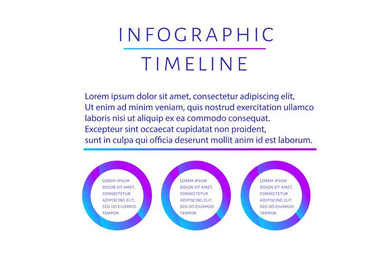 Futuristic Infographic timeline template with 3 options, steps and place for text. Modern fluid design for report vector illustration