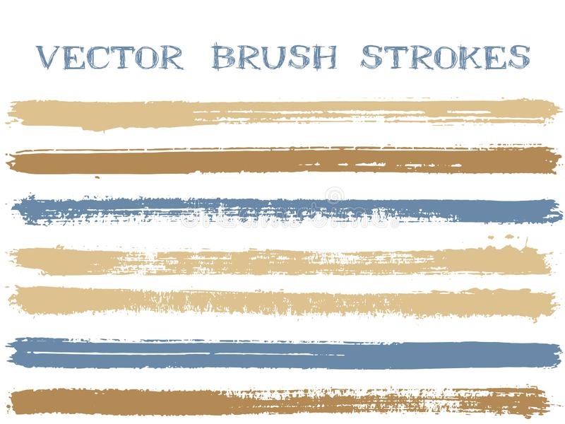 Futuristic ink brush strokes isolated design elements. Set of paint lines. Urban Ink brushe stripes isolated on white, vector colors guide book samples royalty free illustration