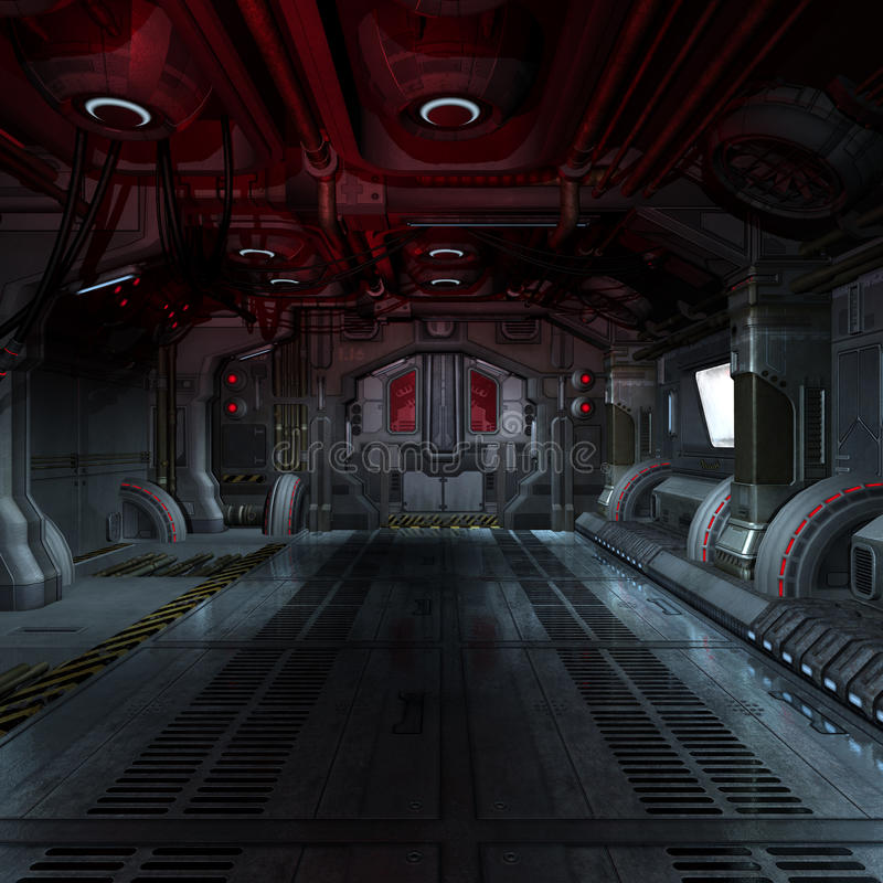 futuristic inre spaceship för scifi 3d stock illustrationer
