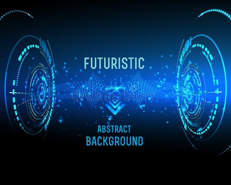 Futuristic interface, HUD, background. Illustration of Futuristic interface, technology , sci-fi background stock illustration