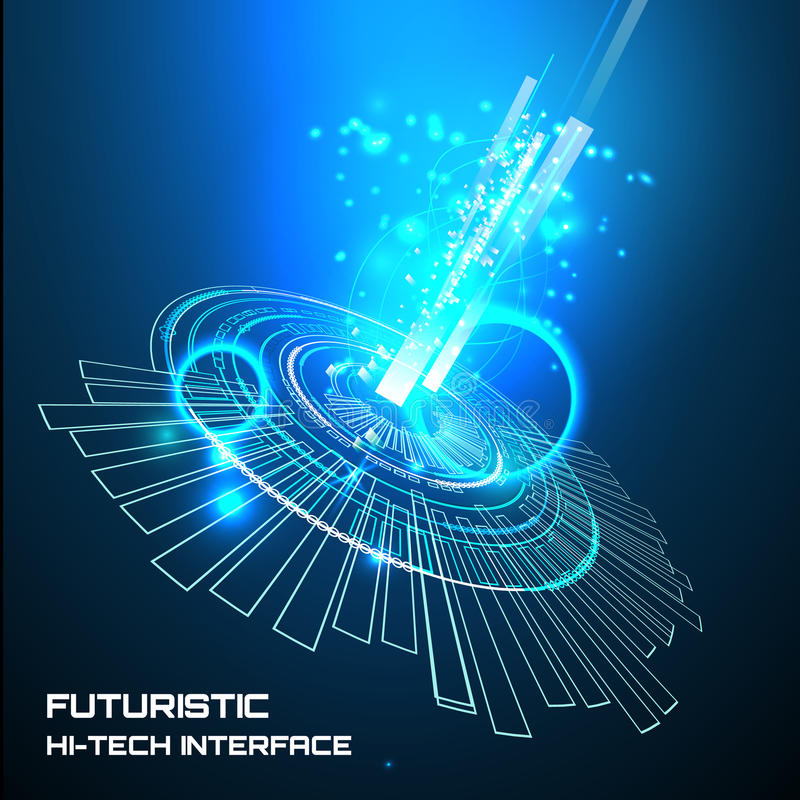Futuristic interface, HUD, background. Illustration of Futuristic interface, technology , sci-fi background royalty free illustration