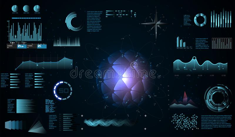 Futuristic interface hud design, infographic elements like scanning graph or waves, Sci-fi futuristic hud dashboard stock illustration