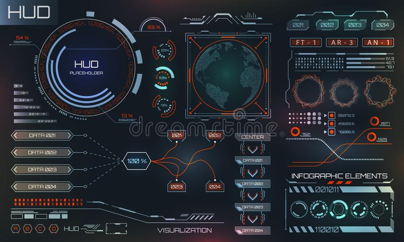 Futuristic Interface HUD Design, Infographic Elements,Tech and Science, Analysis Theme stock illustration