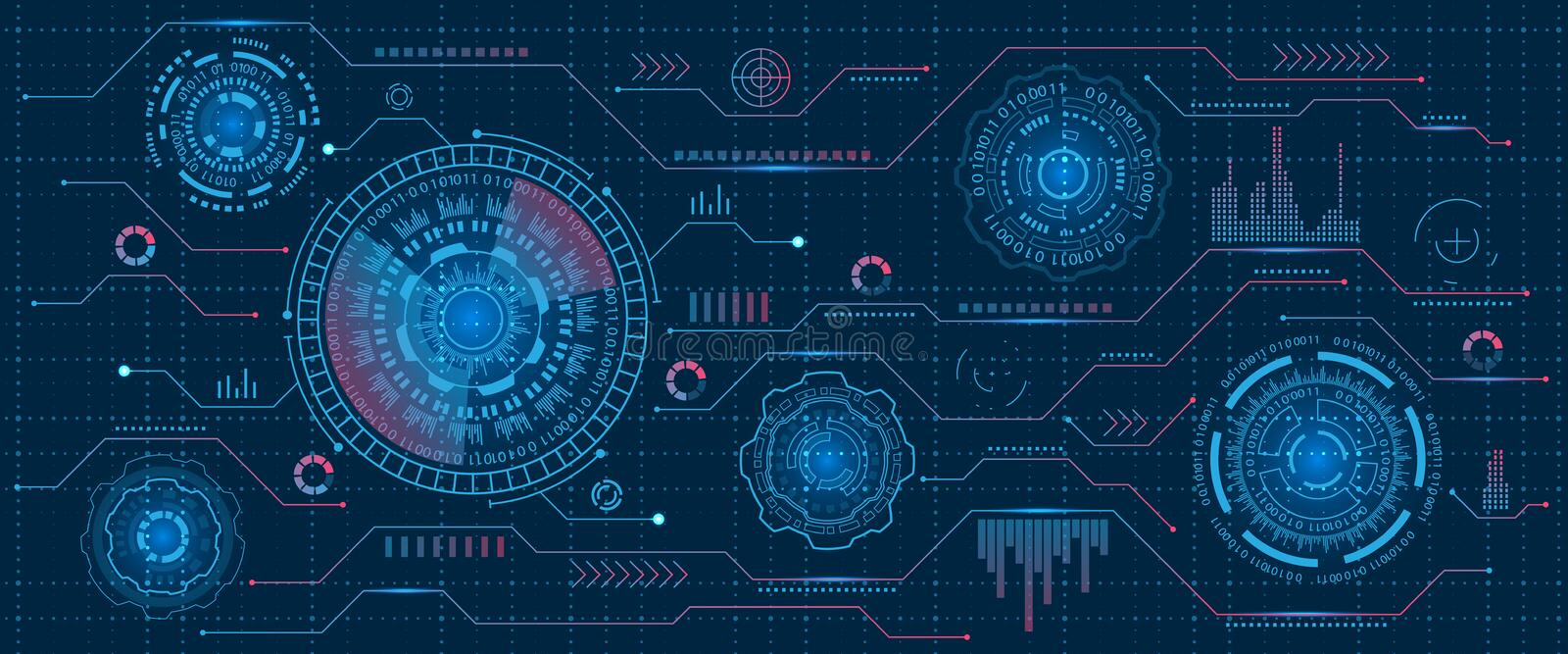 Futuristic Interface Hud Design, Infographic Elements,Tech and Science, Analysis Theme, Template UI for App and Virtual vector illustration