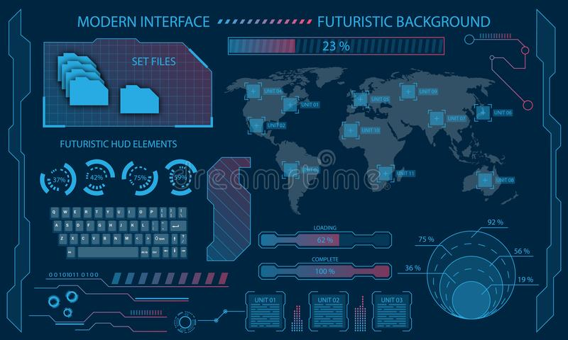 Futuristic Interface Hud Design, Infographic Elements,Tech and Science, Files System, Visualization Dashboard stock illustration