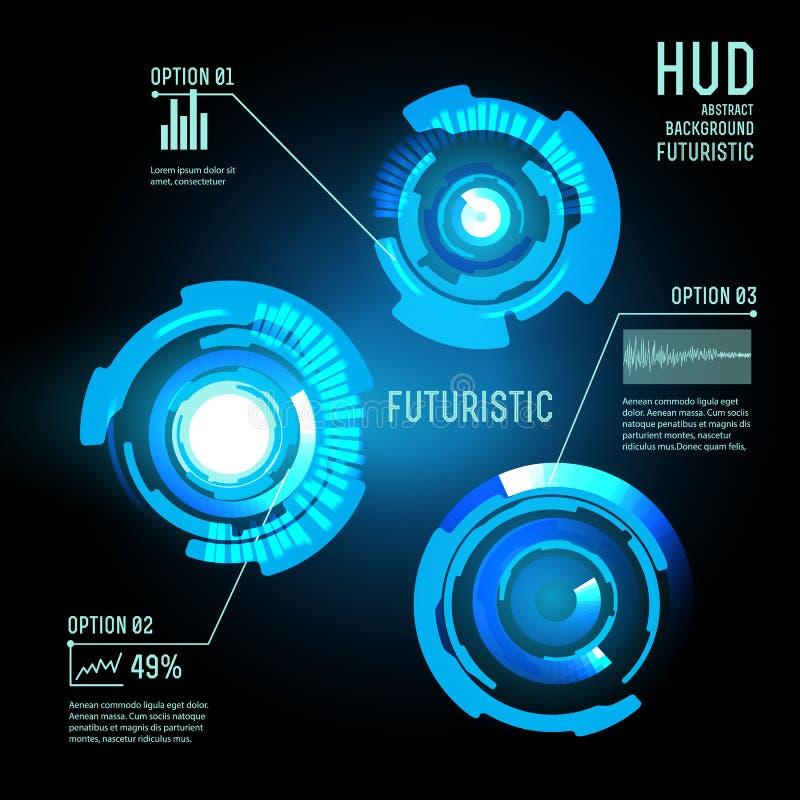 Futuristic interface, HUD, imfographics ,. Illustration of Futuristic interface,imfographic for technology , sci-fi background stock illustration