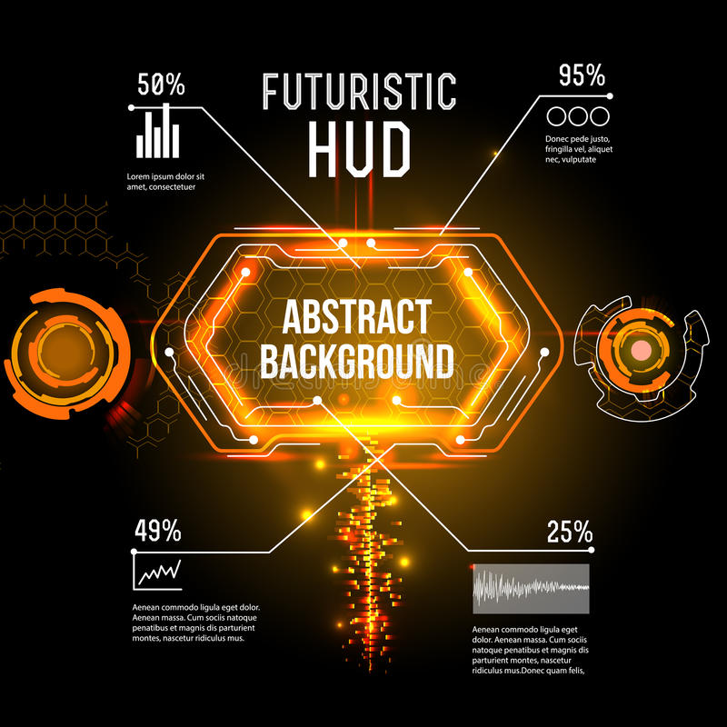Futuristic interface, HUD, imfographics ,. Illustration of Futuristic interface,imfographic for technology , sci-fi background stock illustration