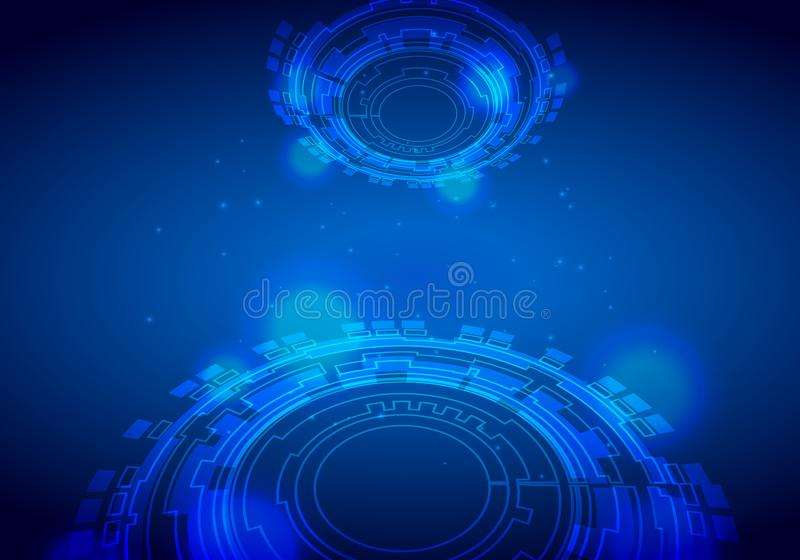 Futuristic interface, HUD, techno circle, Vector abstract technology design on blue background.  royalty free illustration