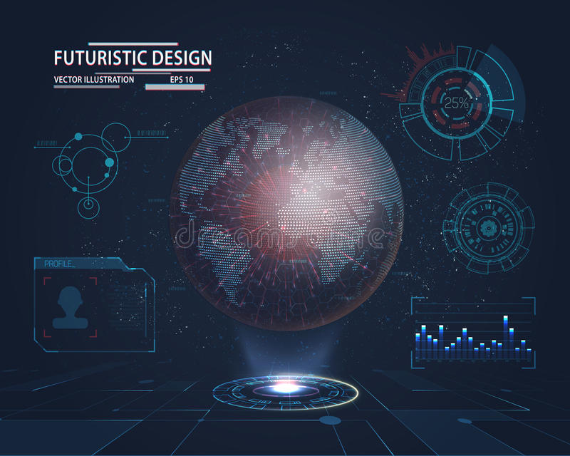 Futuristic Interface with planet hologram. Planet hologram with futuristic hud design elements with bar and circle graph. Infographic or technology interface for royalty free illustration