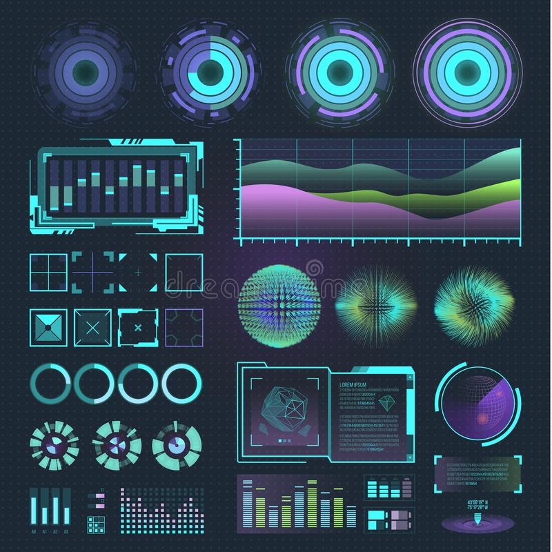 Futuristic interface space motion graphic infographic game and ui ux elements hud design graph wave bar hologram vector. Illustration. Tech and science analysis stock illustration