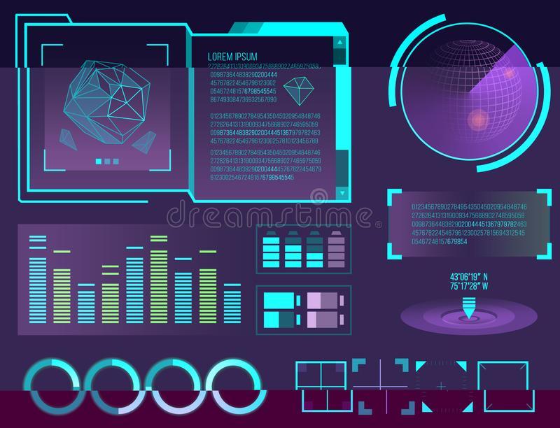 Futuristic interface space motion graphic infographic game and ui ux elements hud design graph wave bar hologram vector. Illustration. Tech and science analysis royalty free illustration
