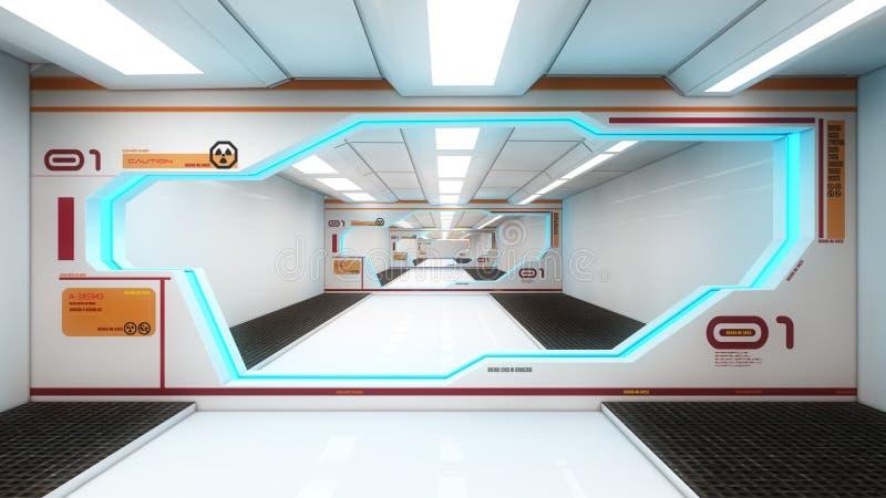 Futuristic Interior Architecture Stock Illustration Illustration