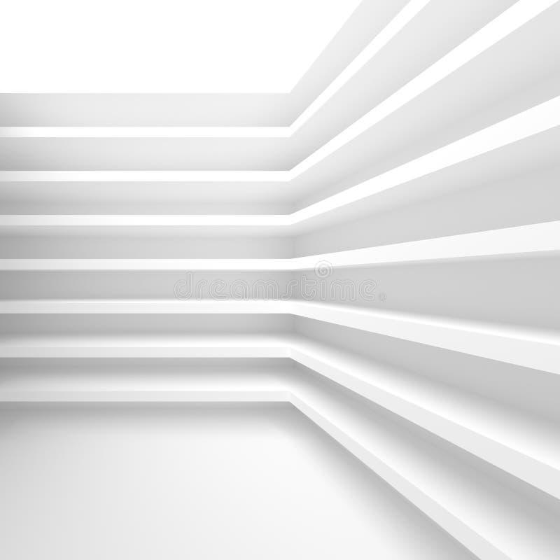 Futuristic Interior Background. White Abstract Living Room Concept. Minimalistic Graphic Design stock illustration
