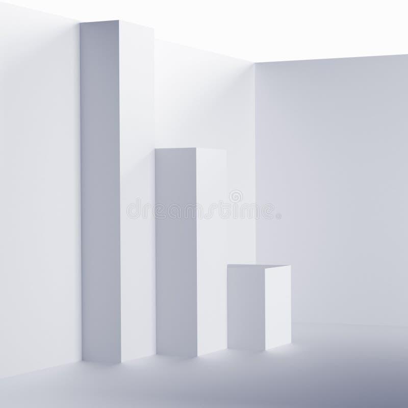 Futuristic Interior Background. White Abstract Living Room Concept. Minimalistic Graphic Design vector illustration