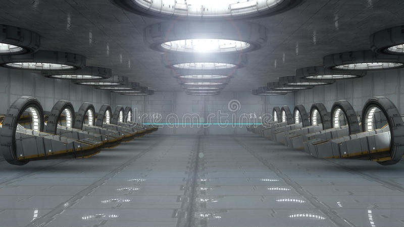 Futuristic interior vector illustration