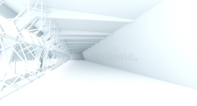 Futuristic Interior decorate white abstract vector illustration