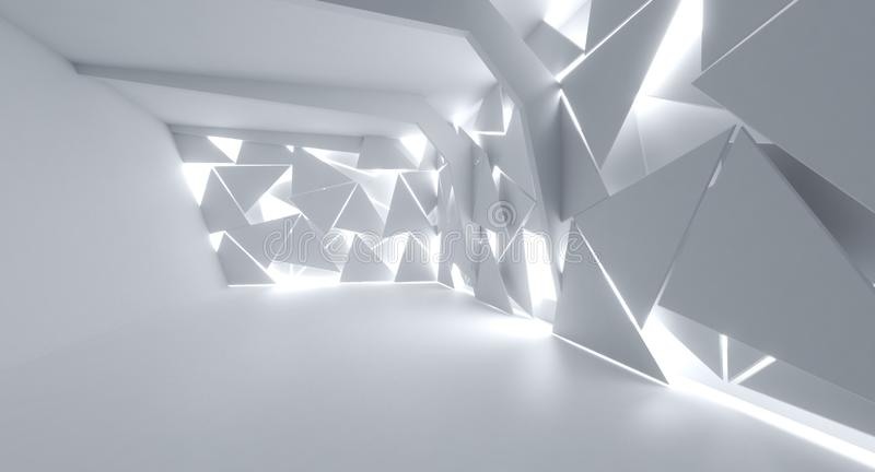 Futuristic Interior decorate white abstract Triangle sheet vector illustration