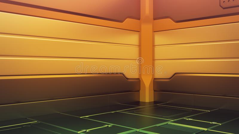 Futuristic interior with empty stage. Modern Future background. Technology Sci-fi hi tech concept. 3d rendering vector illustration