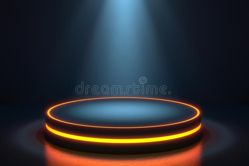 Futuristic interior with empty stage. Modern Future background. Technology Sci-fi hi tech concept. royalty free illustration