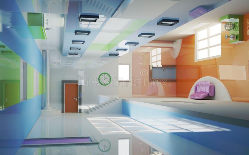 Futuristic interior . Multigravitation vector illustration