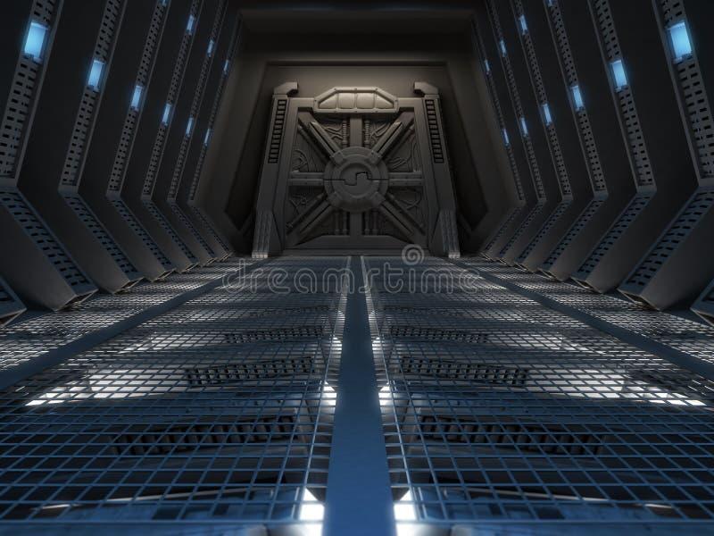 Futuristic interior. Of a space station stock illustration