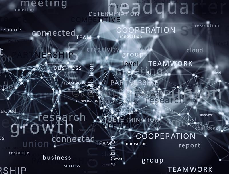 Internet network background with most important business terms stock photos
