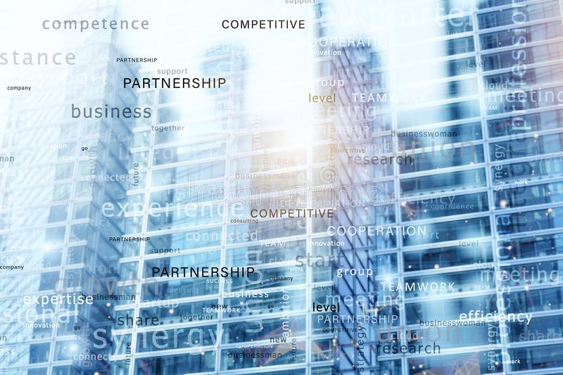 Internet network background with most important business terms. Double exposure stock images