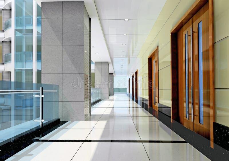 futuristic korridor 3d stock illustrationer