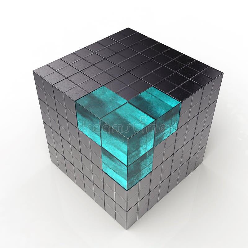 futuristic kub för black 3d stock illustrationer