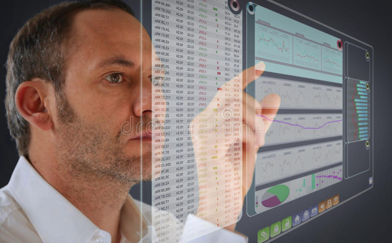 Futuristic LCD Panel. Financial content