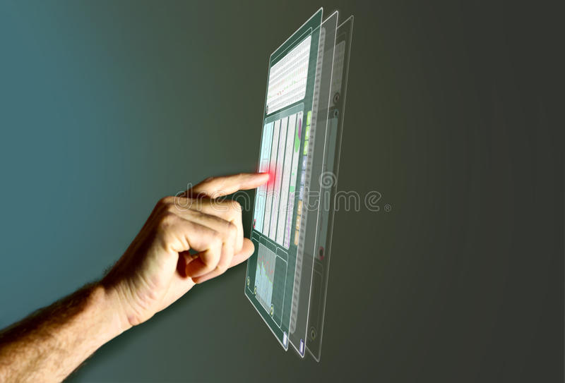 Futuristic LCD Panel. Financial content stock image