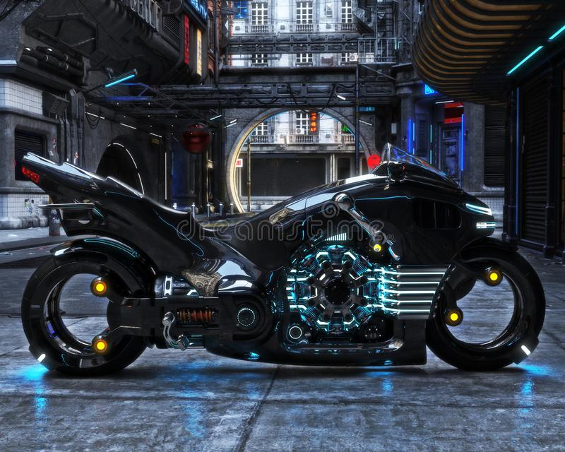 Futuristic light cycle on display. Motorcycle is displayed with a futuristic urban background. royalty free illustration