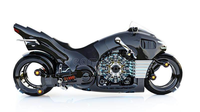 Futuristic light cycle. Motorcycle is on an isolated white background. royalty free illustration