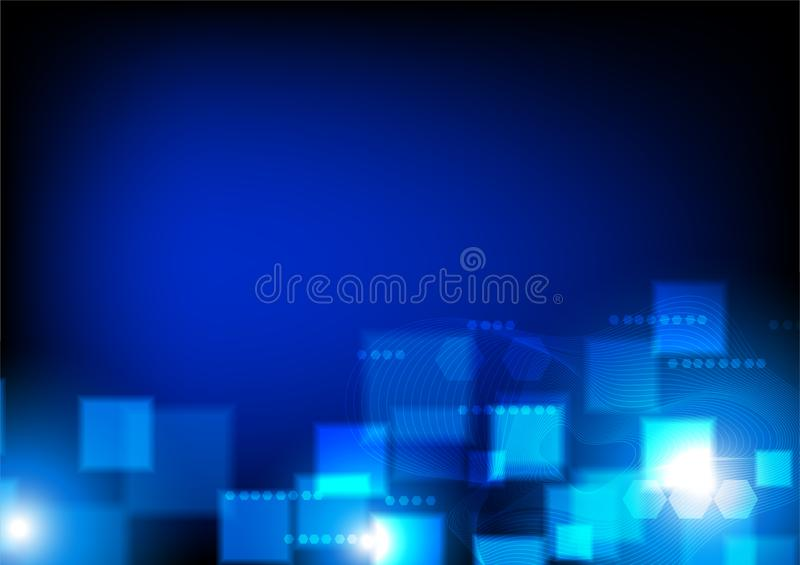 Futuristic lines with square and hexagons, vector data communication concept royalty free illustration