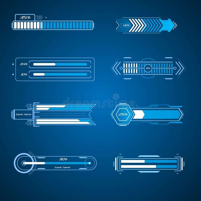 Futuristic loading elements vector illustration