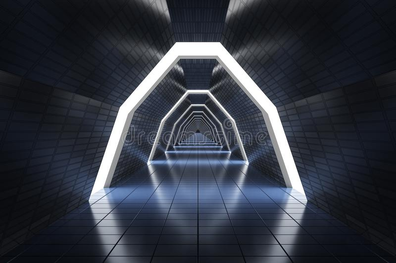 Futuristic long corridor in spaceship. 3D rendered illustration.  stock illustration
