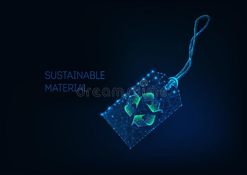 Futuristic low poly retail price tag with green recycle sign Sustainable material, recycled fabric. vector illustration