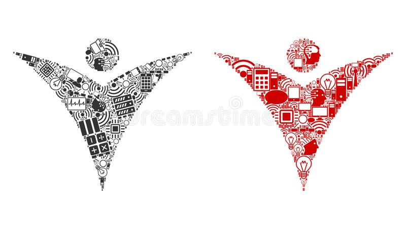 Futuristic Man Collage Icons for BigData. Futuristic Man mosaic icons combined for bigdata illustrations. Vector futuristic man mosaics are composed from royalty free illustration
