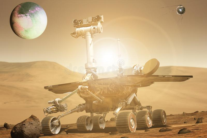 Futuristic mars rover exploring vasts of red planet b royalty free stock photos