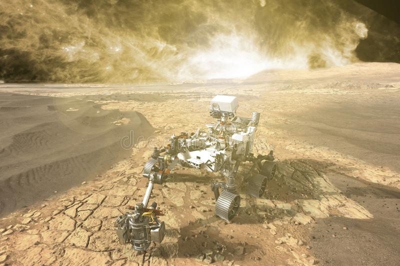 Futuristic mars rover exploring vasts of red planet f stock photos
