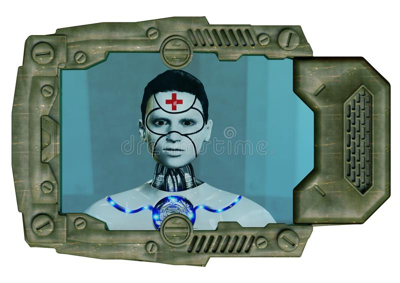 Futuristic medical device with robotic interface used in advanced medicine vector illustration
