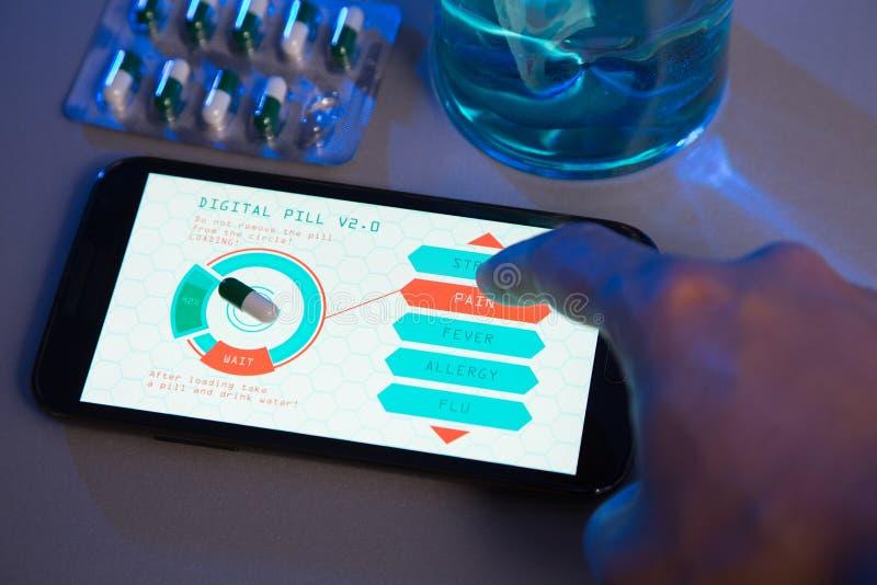 Futuristic medicine concept, choose your pill type on high-tech stock image