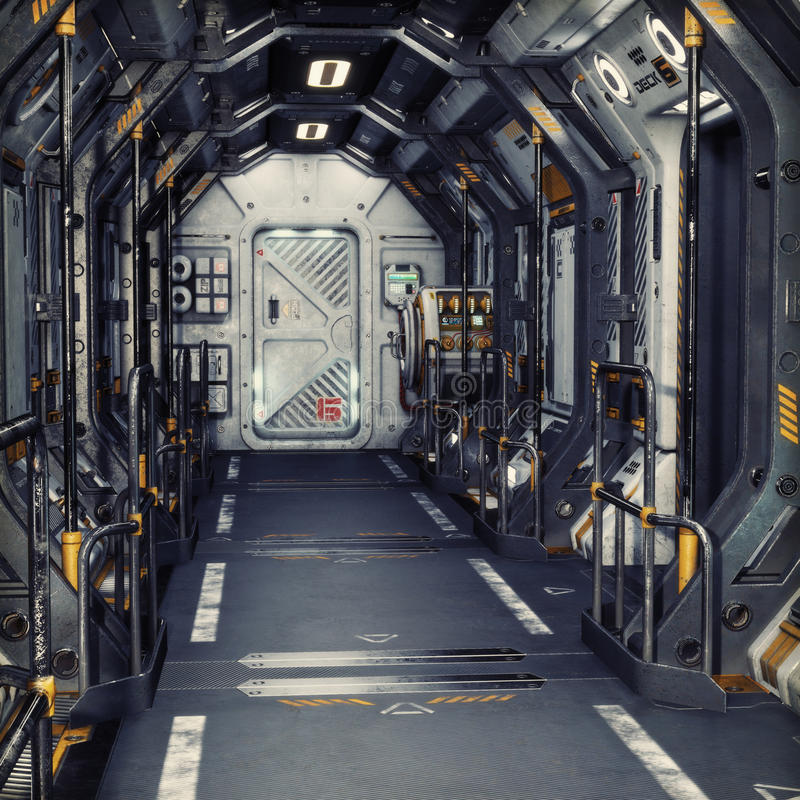 Futuristic metal Sci-Fi Corridor tunnel or ship interior . 3d rendering illustration . stock illustration