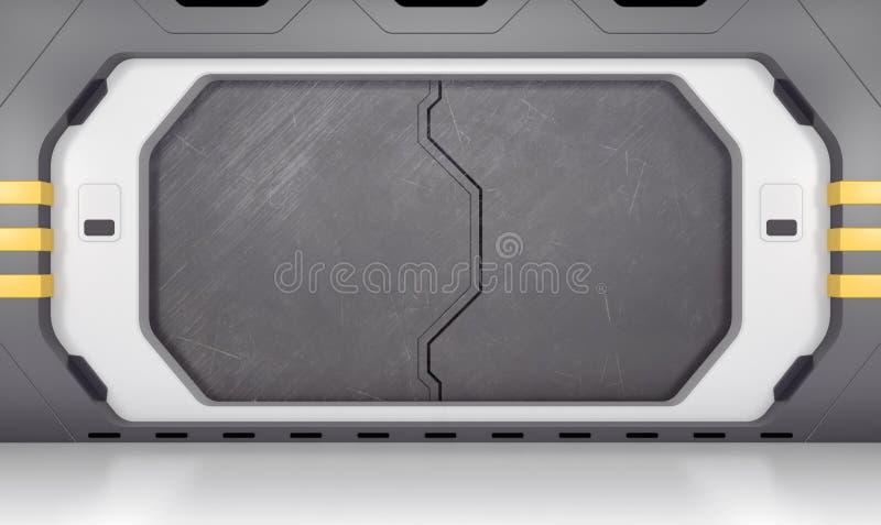 Futuristic metallic door stock illustration