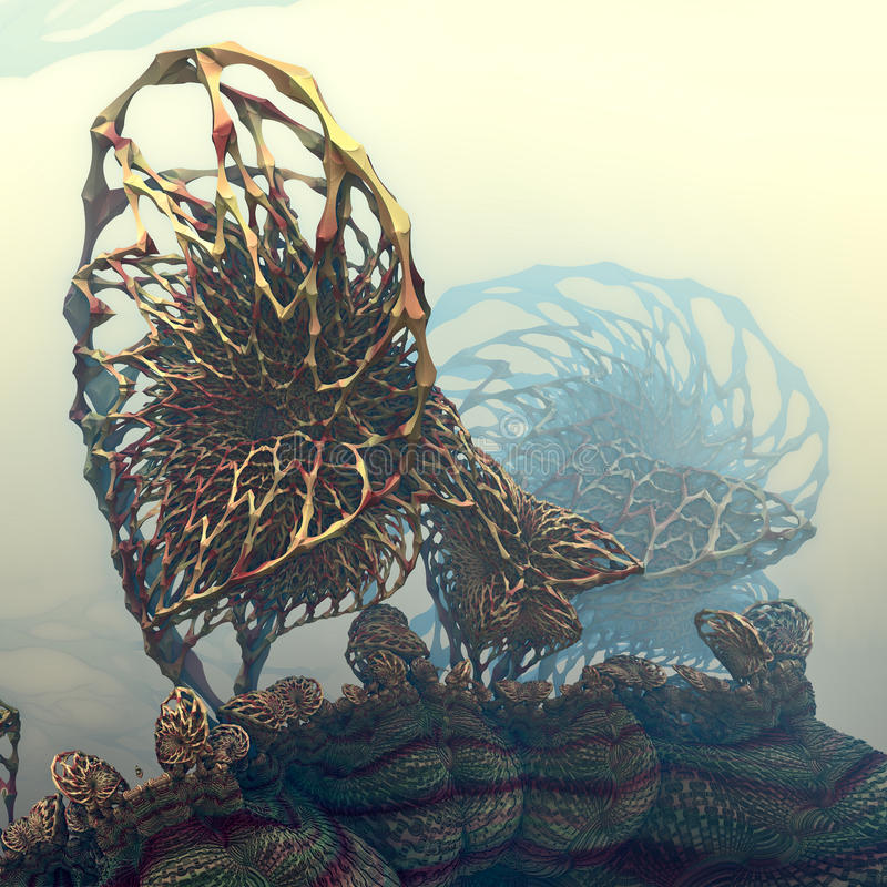 Futuristic metallic structure stock illustration