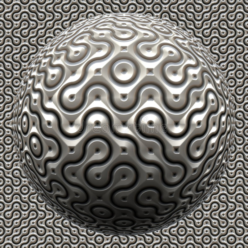 futuristic metallisk spheroid stock illustrationer