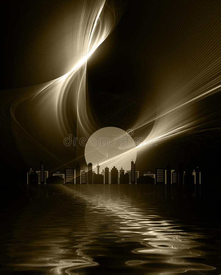 Futuristic metropolis royalty free illustration