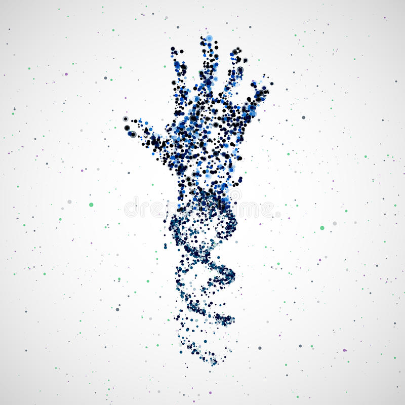 Futuristic model of hand dna, abstract molecule royalty free illustration