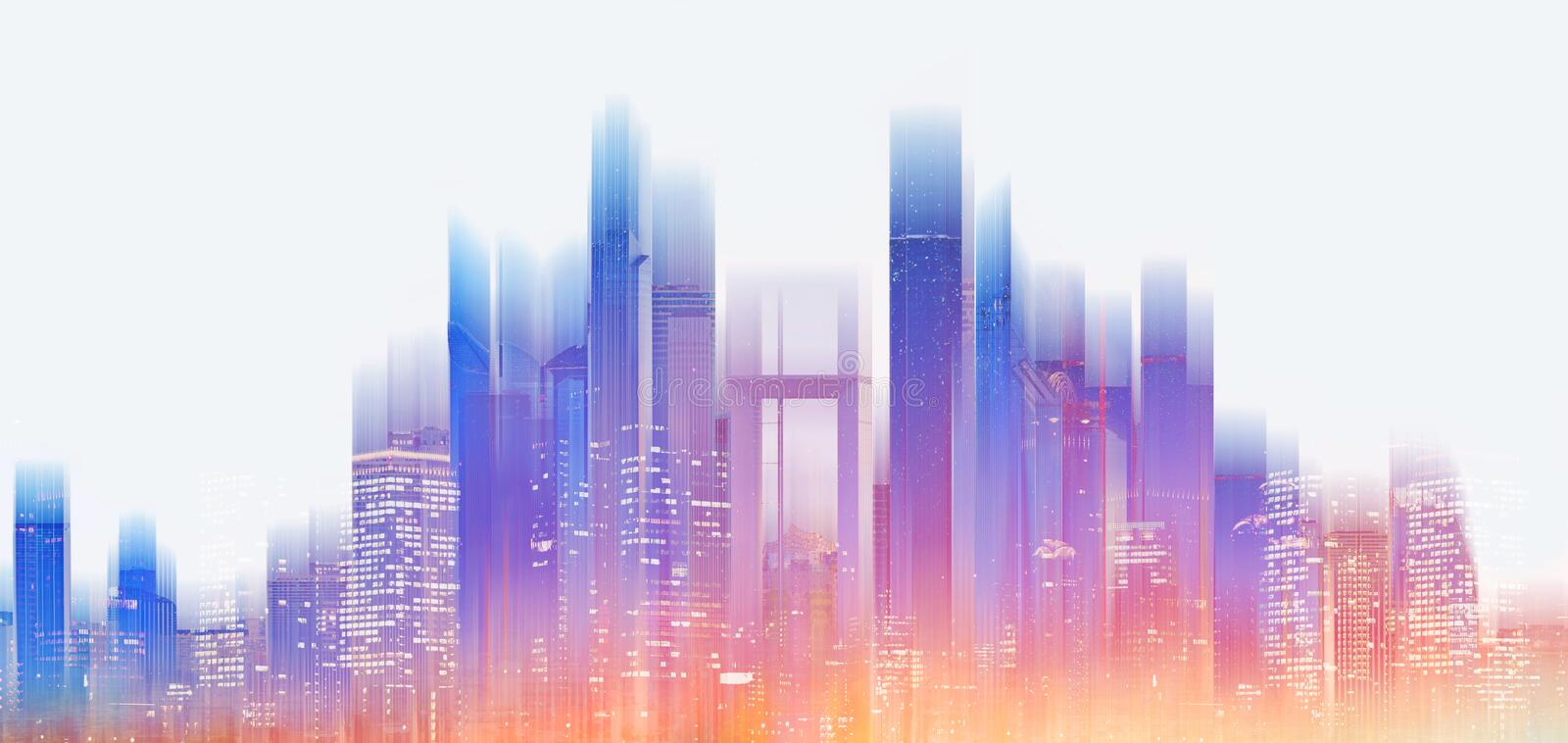 Futuristic modern building with bright and glowing colorful light royalty free stock photography